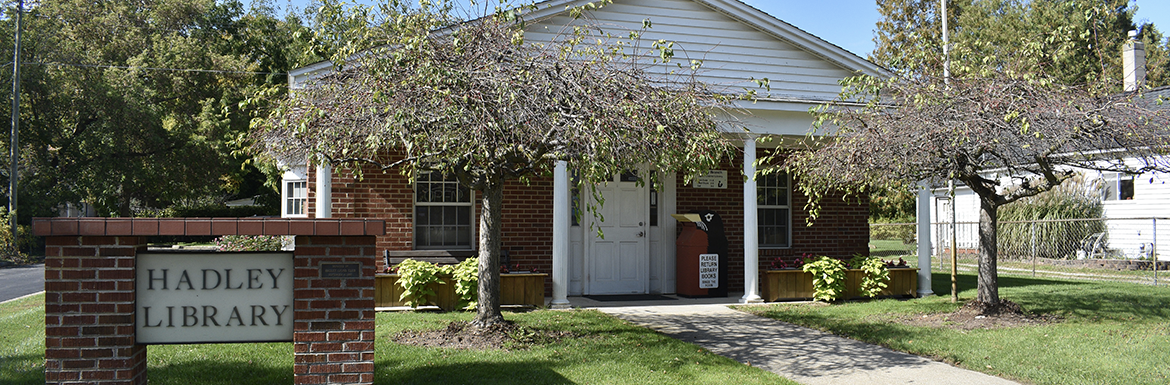 Header image of the exterior of the Hadley Branch Library