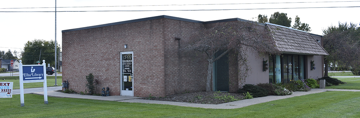 Header image of the exterior of Elba Branch Library