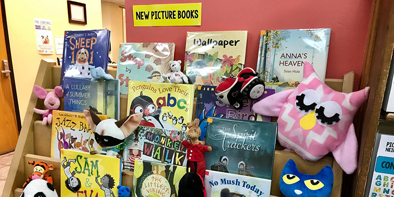 An image showing new picturebooks selection in the kids department