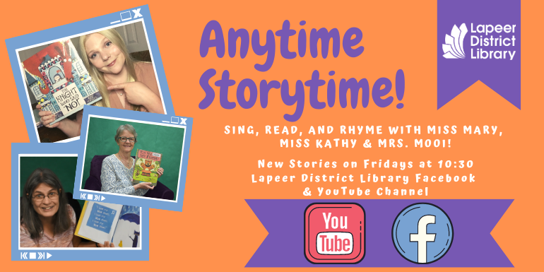 Anytime Storytime with Miss Mary is posted each Friday on the LDL Facebook and YouTube page.